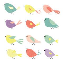 Birds. Cute vector set.