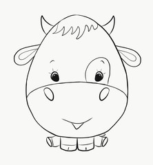 Coloring funny bull