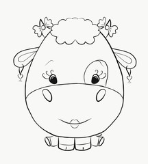 Coloring funny cow