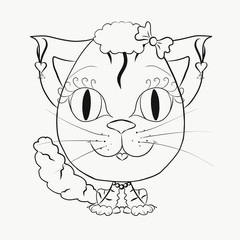 Coloring funny cat girl