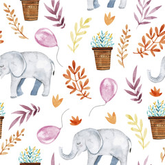 Cute illustration with baby elephant ,floral elements and balloons.