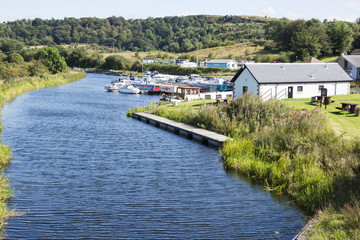 View of the Forth & Clyde canal at Auchenstarry Marina Scotland.