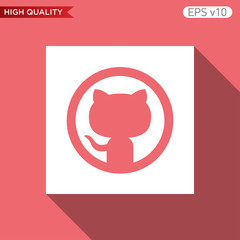 Cat icon. Button with cat icon. Modern UI vector.