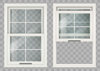 Wooden white rectangular lifting Sliding window with clear glass. Vector graphics Wall mural