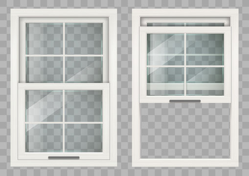 Wooden white rectangular lifting Sliding window with clear glass. Vector graphics