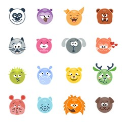 Set of animal emoticons. Vector illustration. Flat style