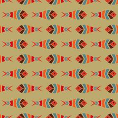 Flock of fish mosaic seamless pattern