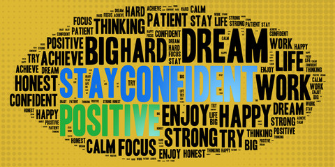 Confident and other positive words. Positive thinking, attitude concept.
