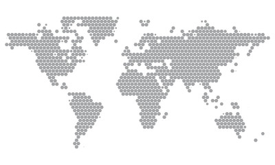 World Map Dotted in Grey Hexagons. Minimal White Grey Clean Look Background for Info Graphics or Apps. Perfect for Wall Art Poster Design. Vector Isolated Illustration.