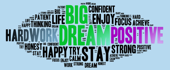 Dream Big and other positive words. Positive thinking, attitude concept.