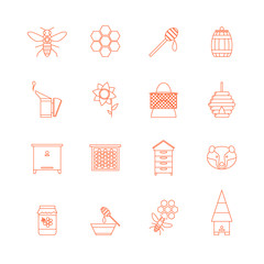Beekeeping Thin Line Icons Set. Vector