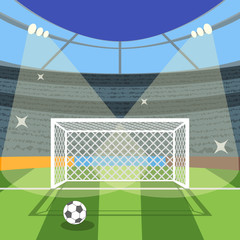 Cartoon Football Soccer Field. Vector