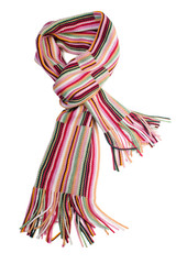 Multicolored striped woolen scarf, isolated on white background