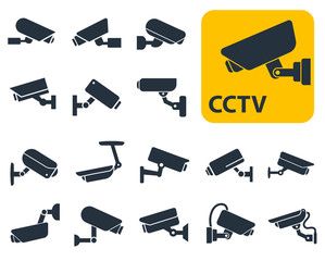 CCTV security cameras vector icons set, video surveillance