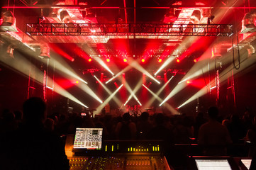 The control panel sound and light during a concert