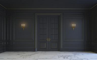 A classic interior is in dark tones. 3d rendering.