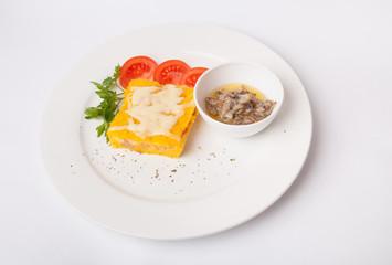 Corn casserole with mushroom sauce