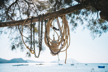 Close-up of anchor and rope on bamboo against sky