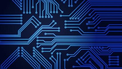 Circuit Board Vector Illustration, detailed Dark Background