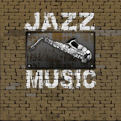Jazz Music design old brick wall saxophone