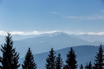 Aluminium Prints Misty mountains magical landscape view