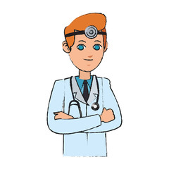 man medical doctor cartoon icon over white background. colorful design. vector illustration