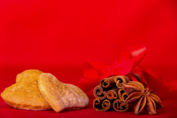 Cookies in the Shape of Hearts Anise Stars Cinnamon Sticks Tied