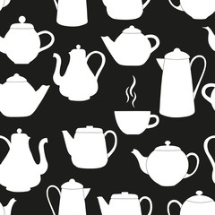 Seamless pattern with kettles
