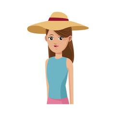 young girl wearing cute hat over white background. colorful design. vector illustration