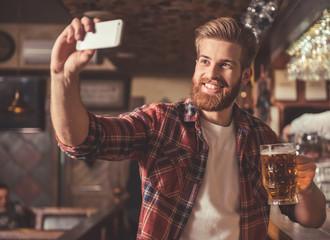 Bearded man at the pub