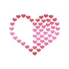 Liebe Valentinstag Herz aus Herzen auf  weiss