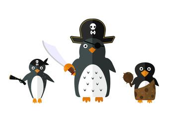 Penguin pirate vector animal character illustration.