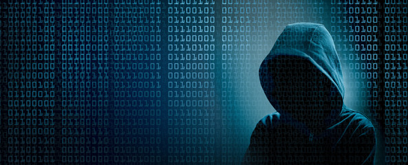 the dark web  hooded hacker banner