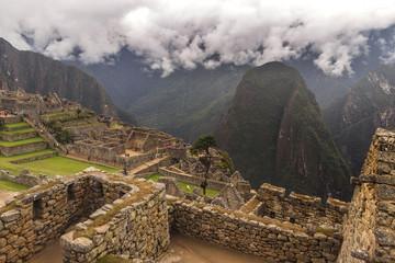 Garden Poster South America Country Peru, Machu Picchu on the sunset.
