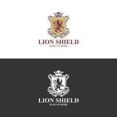 lion shield logo in vector