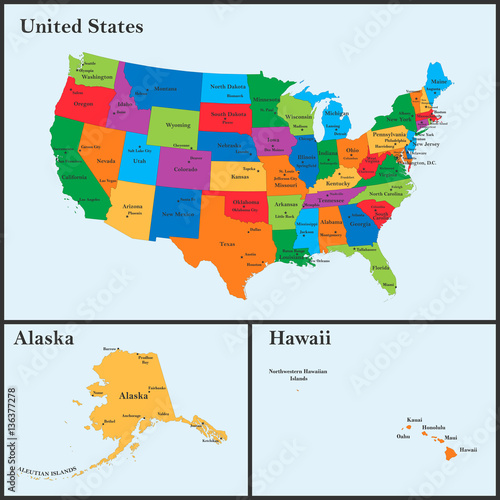 quotThe detailed map of the USA including