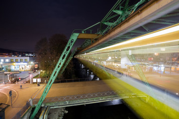 wuppertal germany schwebebahn train lights at night