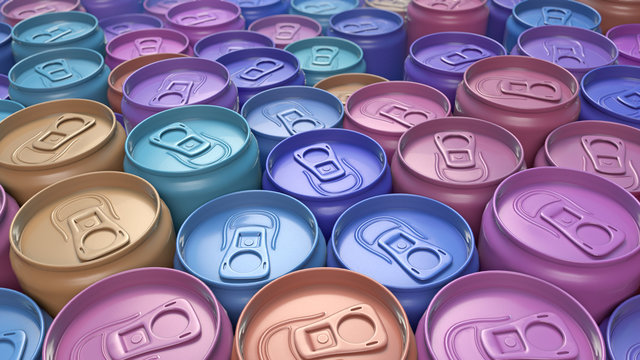 Colored car paint can pattern 3d rendering