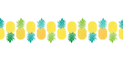 Fresh Pineapples Vector Repeat Seamless Horizontal Pattrern Border in Yellow, Blue and Green Colors. Great for fabric, packaging, wallpaper, invitations.