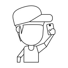 character man smartphone selfie thin line vector illustration eps 10