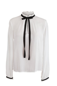 Elegant white blouse with frills around the collar and sleeves,