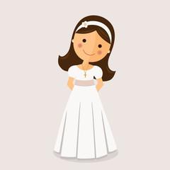 Girl with communion dress on ocher background