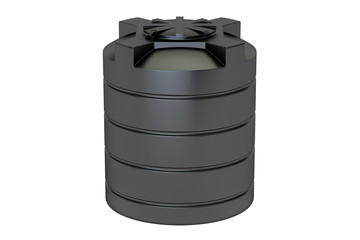 plastic black water tank closeup, 3D rendering