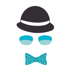 gentleman face hipster style vector illustration design