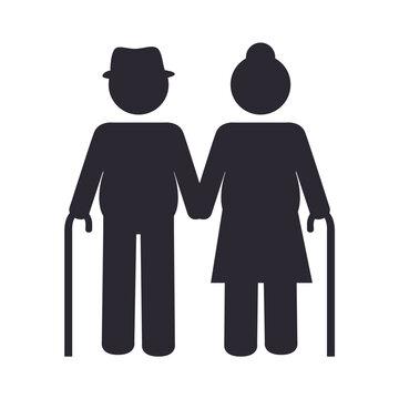 grandparents couple silhouette design