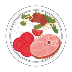 Ham slice delicious food vector illustration design