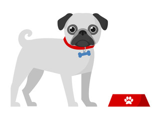 Isolated pug with bowl. vector dog icon flat design. cute pet pug on white background illustration. animal symbol. funny mops portrait. puppy cartoon style.