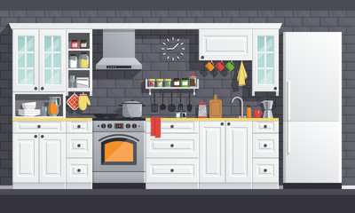 Flat kitchen room vector illustration. indoor kitchen Interior set, cooking cartoon style. culinary decorations collection.