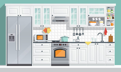 Kitchen appliances. flat room vector illustration. indoor kitchen Interior with, stove, cupboard, dishes and fridge. culinary decorations collection.