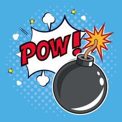 pop art bomb pow with bubble speech design vector illustration eps 10